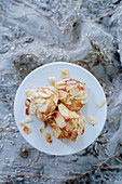 Marzipan biscuits with flaked almonds