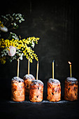 Mini panettones with candles