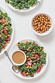 Kale, chickpeas and tomato salad