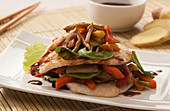 Roasted chicken breast with soya vegetables