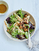 Warm winter fennel bread salad with walnuts