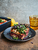 Colourful winter lasagne with kale and beetroot