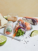 Savour winter rolls with a ginger dip
