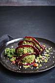 Stuffed beetroot ravioli with kale and hazelnut pesto