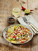 Oriental noodle salad with red cabbage, peppers, Chinese cabbage and bean sprouts