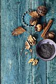 Poppy seeds and dried walnuts