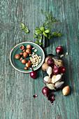 Onions, pine nuts, hazelnuts and fresh herbs