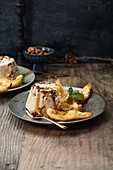 Pear beignets with cinnamon and almond parfait