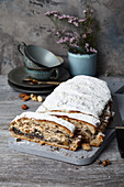 Vegan nut and poppyseed stollen with marzipan