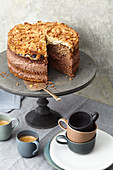 Chocolate, coconut and nut cake