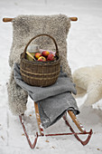 Basket with apples and a thermos on a sled with sheepskin and blanket