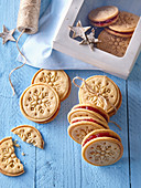 Decorated Linzer Christmas cookies