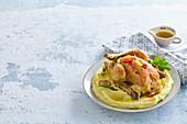 Lemon chicken with mushroom and potato mash