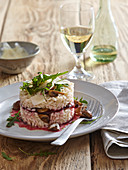 Mushroom risotto with marinated beet