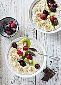 Milk porridge with fruits and chocolate