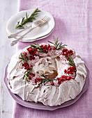 Meringue Pavlova with cranberry cream