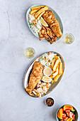 Platter of Fried Fish, Prawns, Calamari, Chips, Rice, Sauces, Wine and Salad