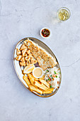 Platter of Grilled Fish, Calamari, Chips, Rice, Sauces and Wine
