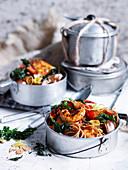 Spaghetti mit Chili-Knoblauch-Garnelen