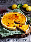 Lemon Custard and Strawberry Jam Brulee Tart