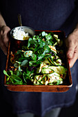 Grilled Zucchini with Goats Cheese Raisins and Pine Nuts