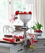 Saucenverarbeiter mit Tomaten und Beeren in Landhausküche