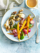 Rabbit back with herbs and grilled vegetables