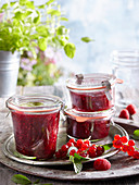 Raspberry and currant jam with mint