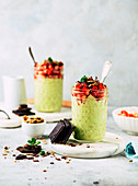 Avocado mousse with strawberries