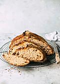 Spelt sour dough bread, sliced
