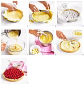 Preparing raspberry flan