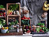 Stillleben mit gesunden Lebensmitteln