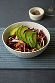 Cabbage salad with avocado