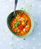 Lentil dhal with tomatoes and mozzarella
