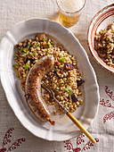 White pudding with groath risotto and mushrooms