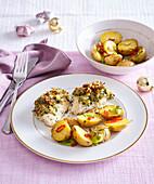 Zander mit Parmesankruste und würzigen Kartoffeln (Weihnachten)