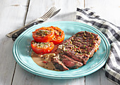 Grilled roastbeef with pepper sauce