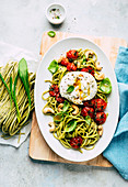 Wild garlic pasta with burrata and oven-roasted tomatoes