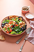 Halloumi salad with slow roasted cherry tomatoes, grapes and balsamic vinaigrette