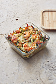 Mini savoy cabbage lasagne with prawns