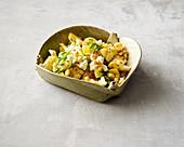 Oriental-style roasted cauliflower salad with feta cheese