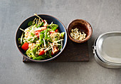 Indonesian rice salad with mange tout