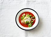Sommerliche Tomatensuppe mit Burrata
