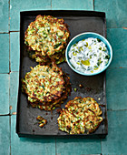 Mucver – Turkish courgette fritters with a sheep's cheese dip