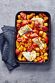 Oven-bked feta cheese with a pumpkin medley