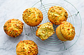 Pistachio muffins with white chocolate