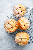 Apple pie muffins with lattice tops