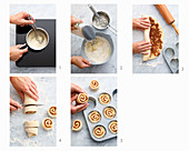 Cinnamon buns being made