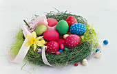 Nest with several Easter eggs