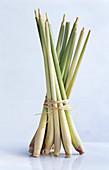 A bundle of lemongrass tied with raffia